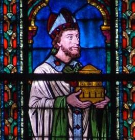 L'évêque Maurice de Sully sur un vitrail de Notre-Dame de Paris