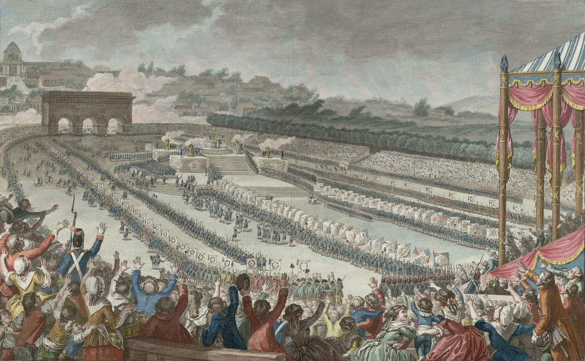 La Fête de la Fédération au Champ de Mars, 14 juillet 1790, gravure de Isidore Stanislas Helman, BnF, Paris.