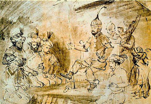 Tamerlan et Ibn Khaldoun devant Damas (1400, gravure de Rembrandt Harmensz)