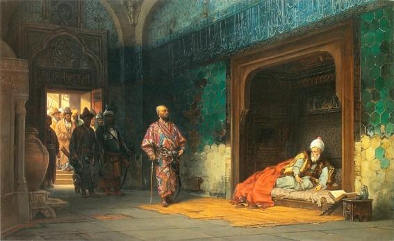 Stanisław Chlebowski, Le Sultan Bayezid prisonnier de Tamerlan, 1878, Lviv National Art Gallery.