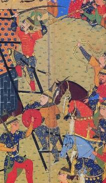 Prise de la citadelle par l'armée timouride, Zafar nâmeh-ye Teymouri, 1ère moitié du XVIe siècle, Téhéran, Palais du Golestân.
