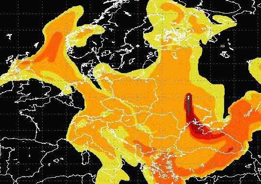 Le nuage contaminé de Tchernobyl (3 mai 1986), doc : IRSN