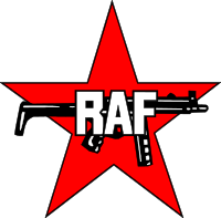 Logo RAF (Rote Armee Fraktion). Organisation dite Fraction armée rouge surnommée bande à Badeer ou groupe Baader-Meinhof.