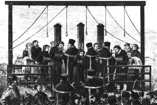Exécution de l'ensemble des conjurés ayant participé à l'assassinat du tsar Alexandre II le 13 mars 1881.