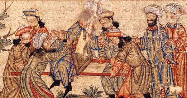 Assassinat du vizir seldjoukide Nizam Al-Mulk en 1092 - llustration dans le 1314 Topkapi Palace Museum manuscrit Hazine 1653.