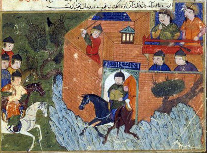 Occupation d'Alamut, 1256 – Jami'au-tawarich de Rashid ad-Din, 13ème ou 14ème s. (miniature mongole)