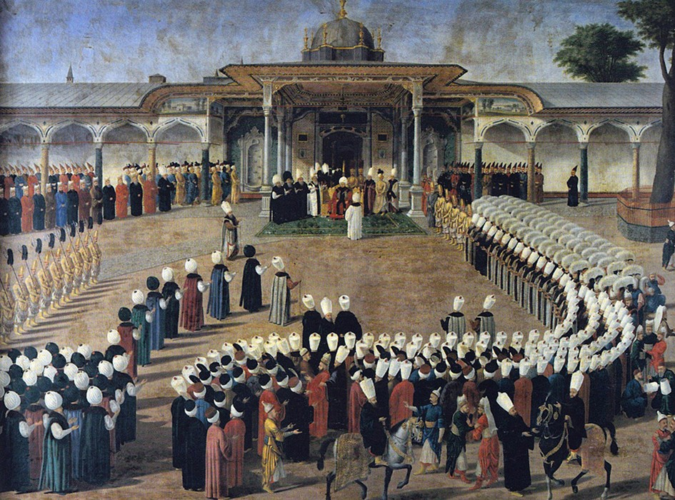 Sélim III reçoit les dignitaires à la Porte de la Félicité (troisième cour où commencent les appartements privés du sultan), Konstantin Kapıdağlı, 1789, Palais de Topkapi, Istanbul.