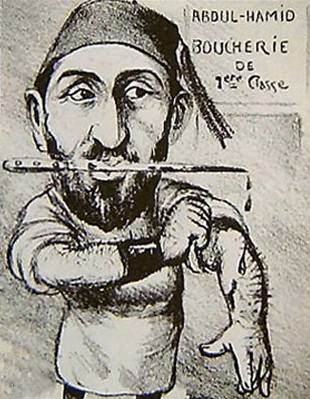 Caricature politique représentant Sultan Hamid comme un boucher pour ses actions dures contre les Arméniens ottomans, Rostro.