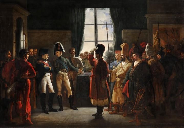 Alexandre Ier présente à Napoléon les Kalmouks, les Cosaques et les Bachkirs de l'armée russe le 9 juillet 1807, Pierre-Nolasque Bergeret, XIXe siècle, château de Versailles, DR.