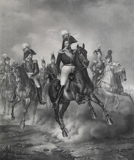 Le tsar Nicolas Ier, lithographie, 1824, Palais d'Hiver, Saint-Pétersbourg.