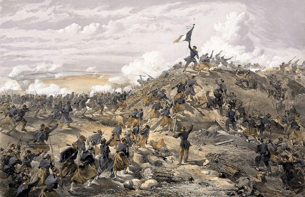 L'attaque de Malakoff,  8 septembre 1855, William Simpson, gravure publiée le 22 octobre 1855, Library of Congress, Washington. Soldats français et Zouaves s'avancent, traversent le fossé, et engagent les soldats russes dans un combat au corps à corps.