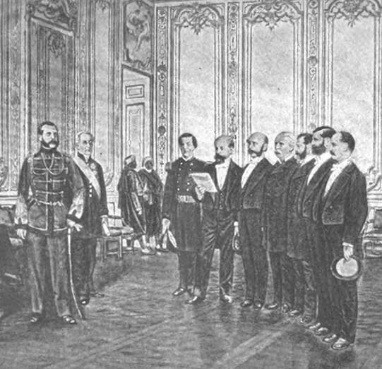 Audience avec l'empereur Alexandre II à Saint-Pétersbourg en 1867, lithographie russe, 1887.