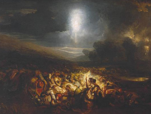 Le champ de bataille de Waterloo (William Turner, 1818, Tate Britain Gallery)