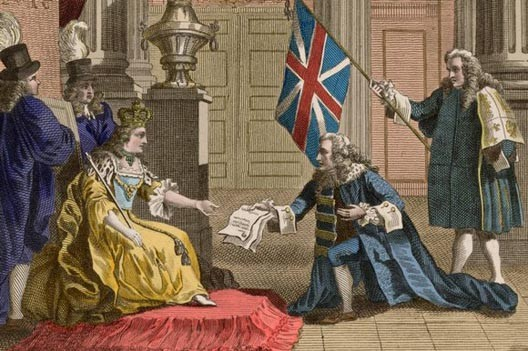 The Duke of Queensbury presents the Act of Union of 1707 to Queen Anne
