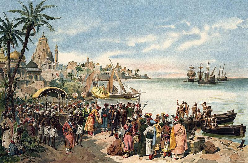 Arrivée de Vasco de Gama à Calicut, 20 mai 1498 (gravure de Roque Gameiro, Bibliothèque Nationale de Lisbonne, XIXe siècle)