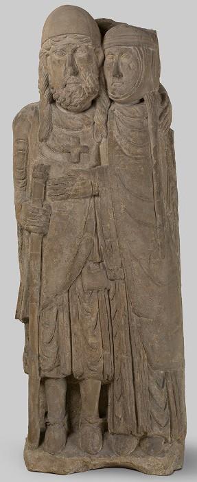 Le retour du croisé : le comte Hugues de Vaudémont et son épouse Anne de Bourgogne, grès du XIIe siècle, Musée lorrain, Nancy.