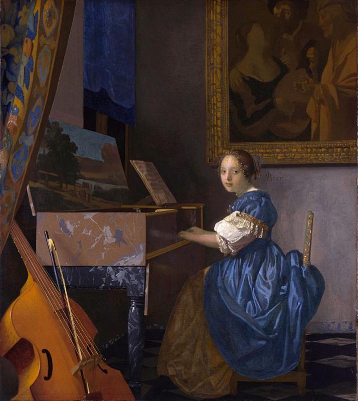 « Une dame assise au virginal », Johannes Vermeer, entre 1670 et 1672, National Gallery, Londres. L'un des derniers tableaux peints par Veermer.