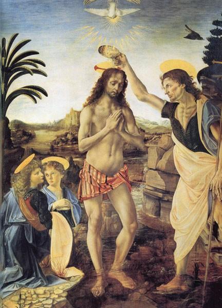 Baptême du Christ (Verrochio et Léonard de Vinci, 1475, Offices, Florence)