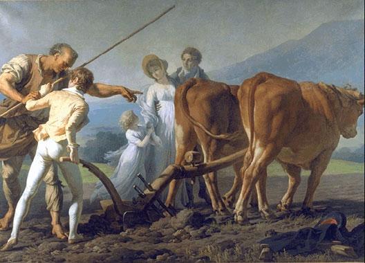 François-André Vincent, La Leçon de labourage, 1798, musée des Beaux-Arts, Bordeaux