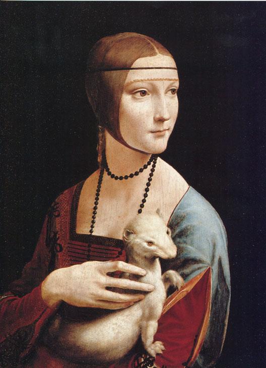 Portrait de Cecilia Gallerani, Dame à l'Hermine  (Léonard de Vinci, huile sur bois, 1489, Musée de Cracovie)