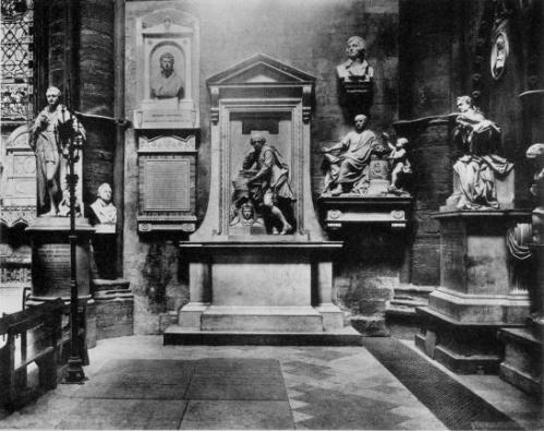 Le coin des poètes ou Poets' Corner, dans l'abbaye de Westminster