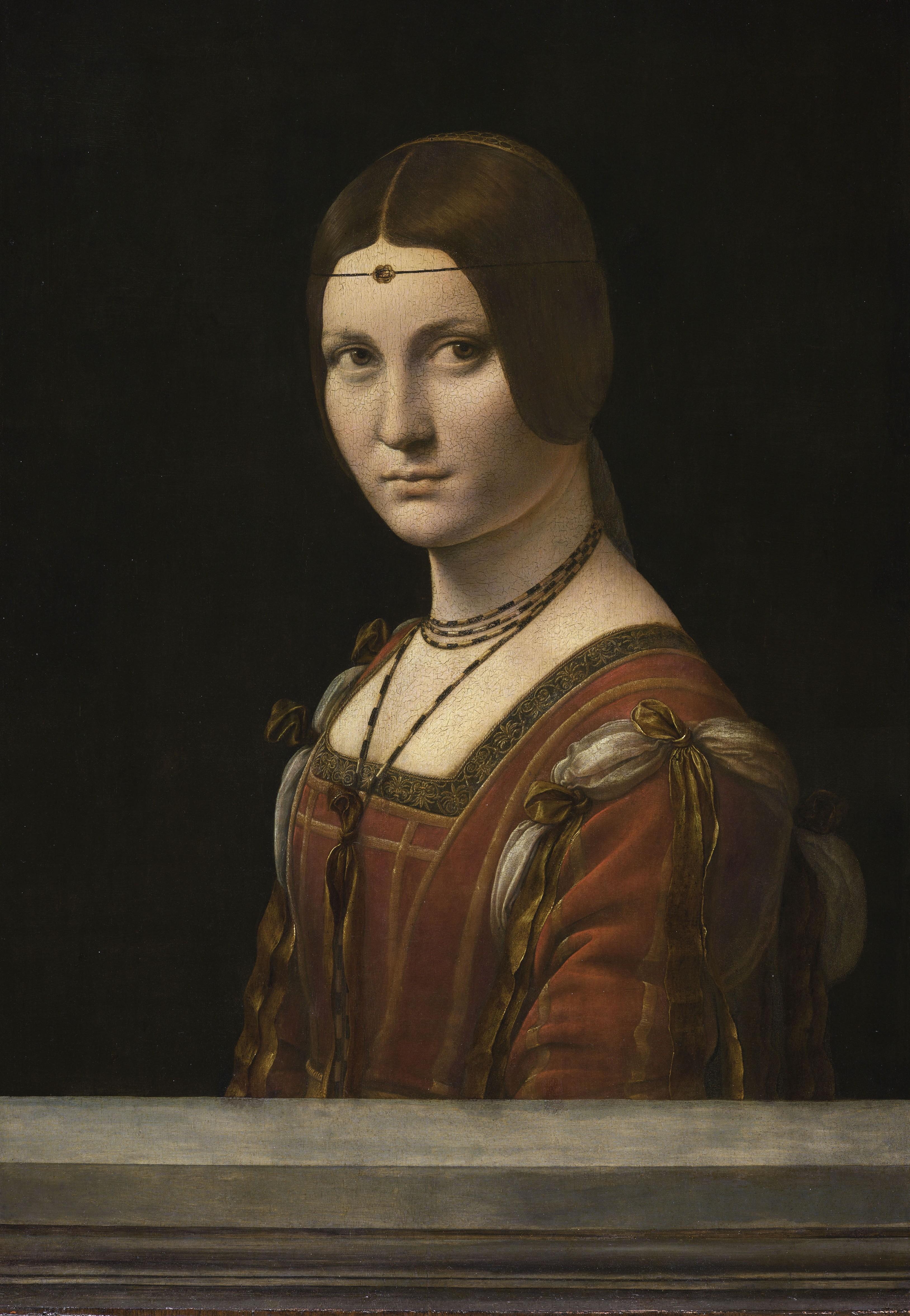 Léonard de Vinci, Portrait d'une dame de la cour de Milan, dit à tort La Belle Ferronnière (vers 1490-1497, musée du Louvre)
