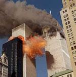 Les tours du World Trade Center frappées par les avions des terroristes (11 septembre 2001)