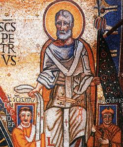 Léon III entre les allégories du pouvoir spirituel et du pouvoir impérial