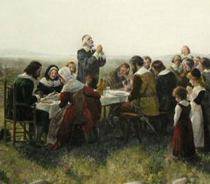 Le premier repas de Thanksgiving (novembre 1621), par Jean Leon Gerome Ferris