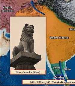 L'empire Maurya en Inde, carte animee de Vincent Boqueho