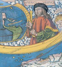 Le portrait d'Amerigo Vespucci sur la carte de l'Amérique de Waldseemüller (détail), 1507.