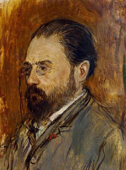 Portrait d'Émile Zola sur le plat supérieur de L'Assommoir, Jean-François Raffaëlli, XIXe siècle, BnF, Paris.